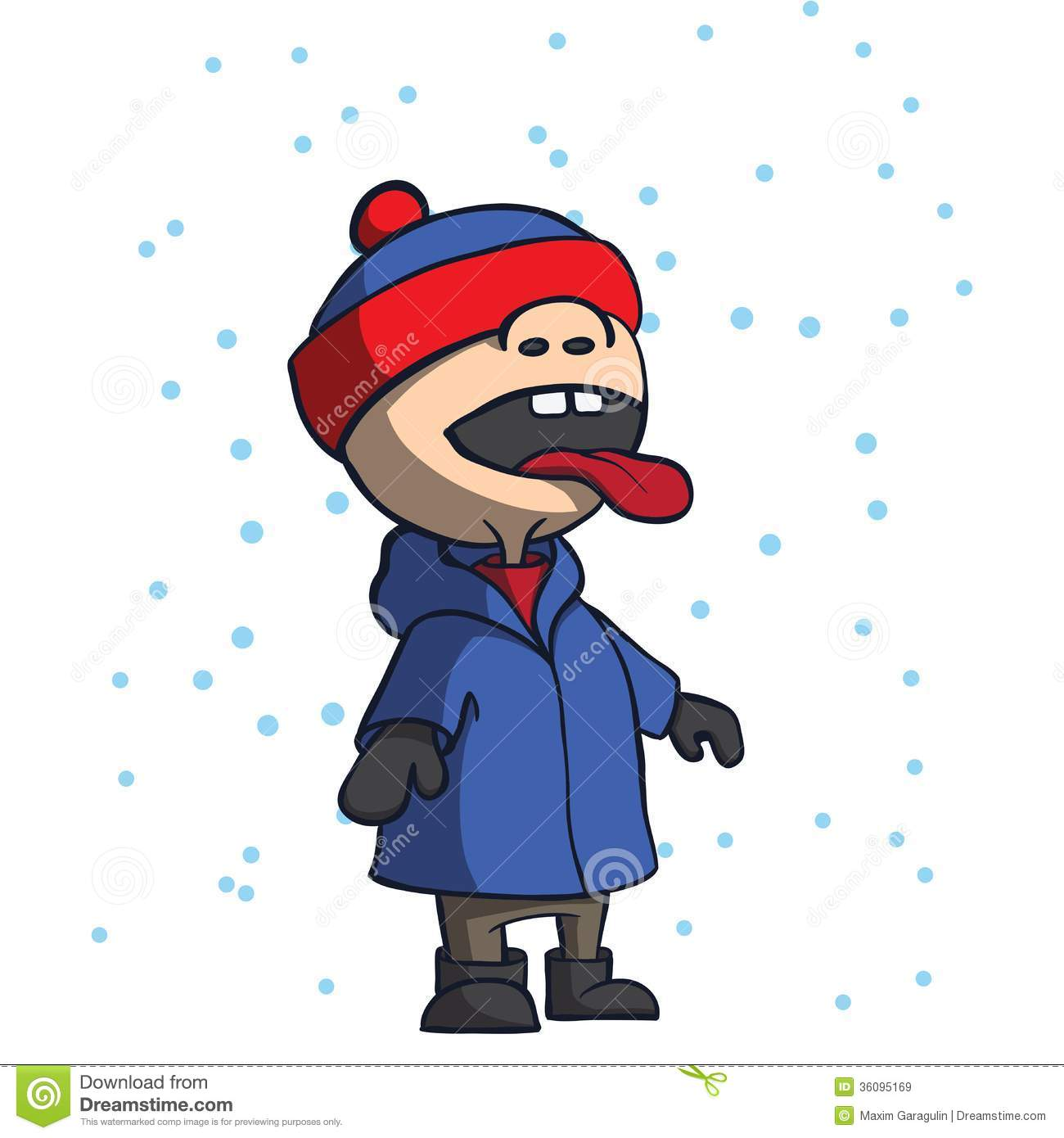 Kid Catching And Eating Snowflakes Cartoon Vector Royalty