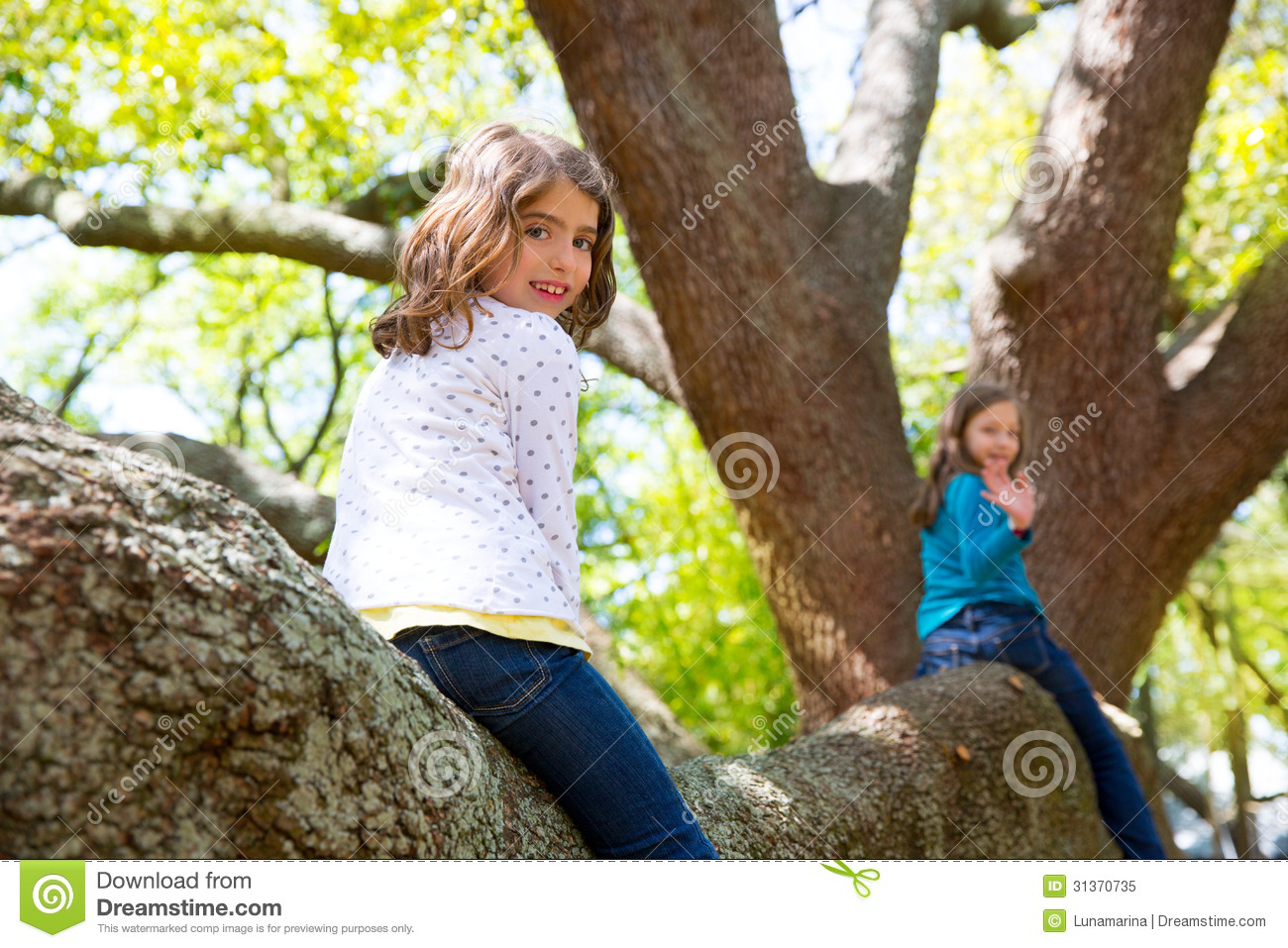 Kid Children Girls Playing Riding A Tree Branch Royalty