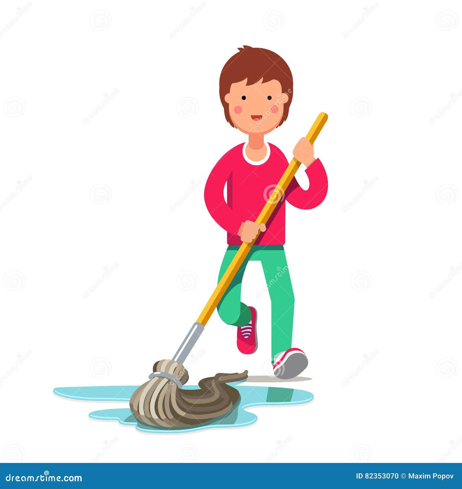 Bathroom Floor Plans Free Kid Cleaning Floor With Dust Mop Wet Broom Stock Vector