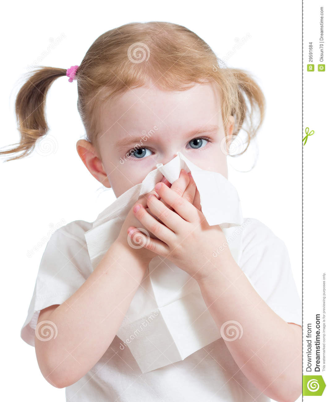 Kid Cleaning Running Nose With Tissue Isolated Stock Images - Image ...