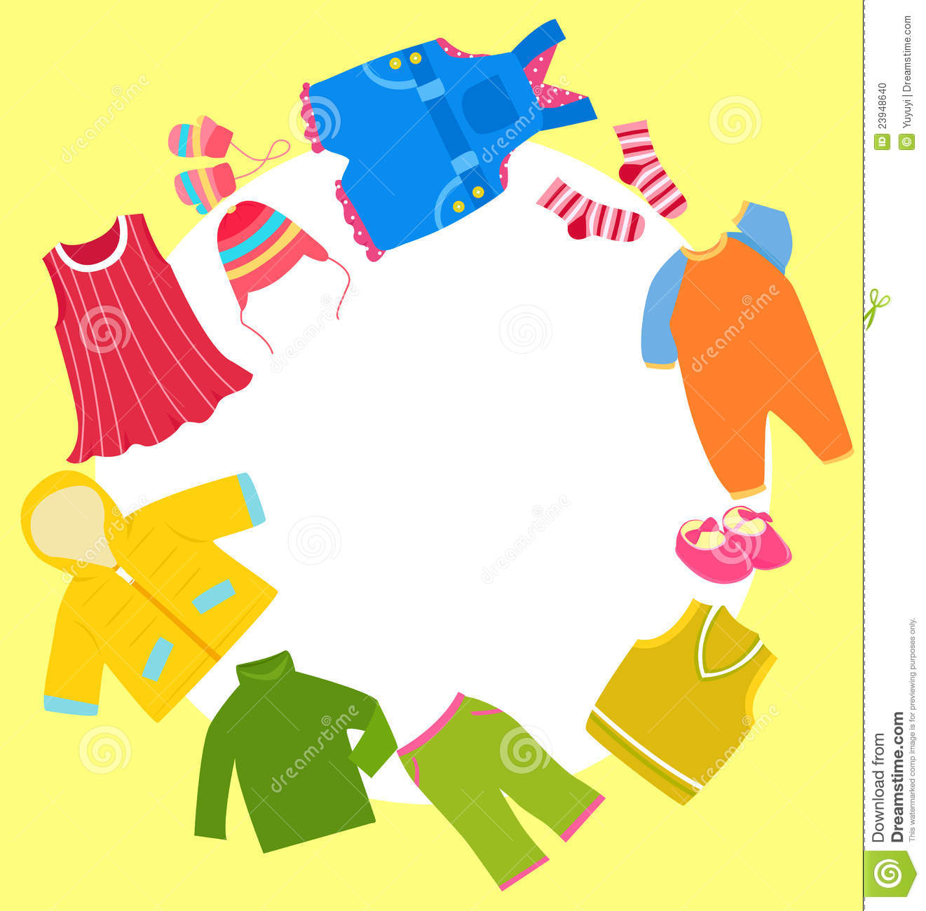 kid clothes set and frame stock vector image of flakes