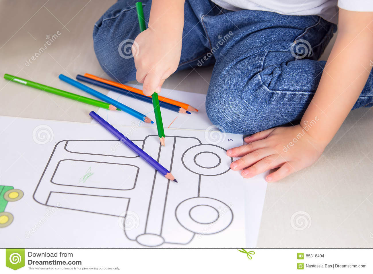 Kid Coloring Paints.Children`s Games At Home Stock Photo - Image of ...