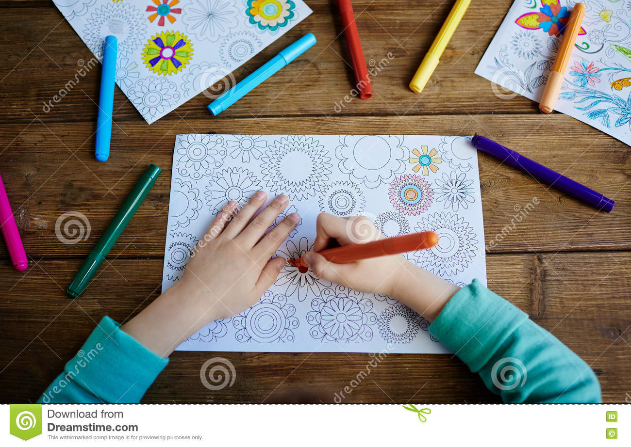 Download Kid Coloring Pics Stock Image Of Hand Creative