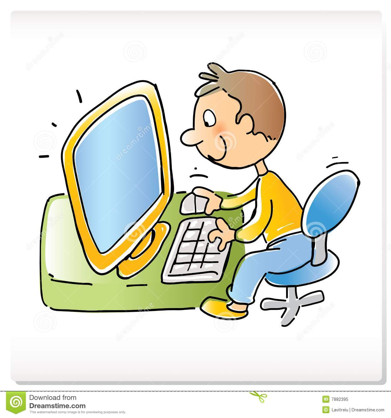 Kid On Computer Cartoon