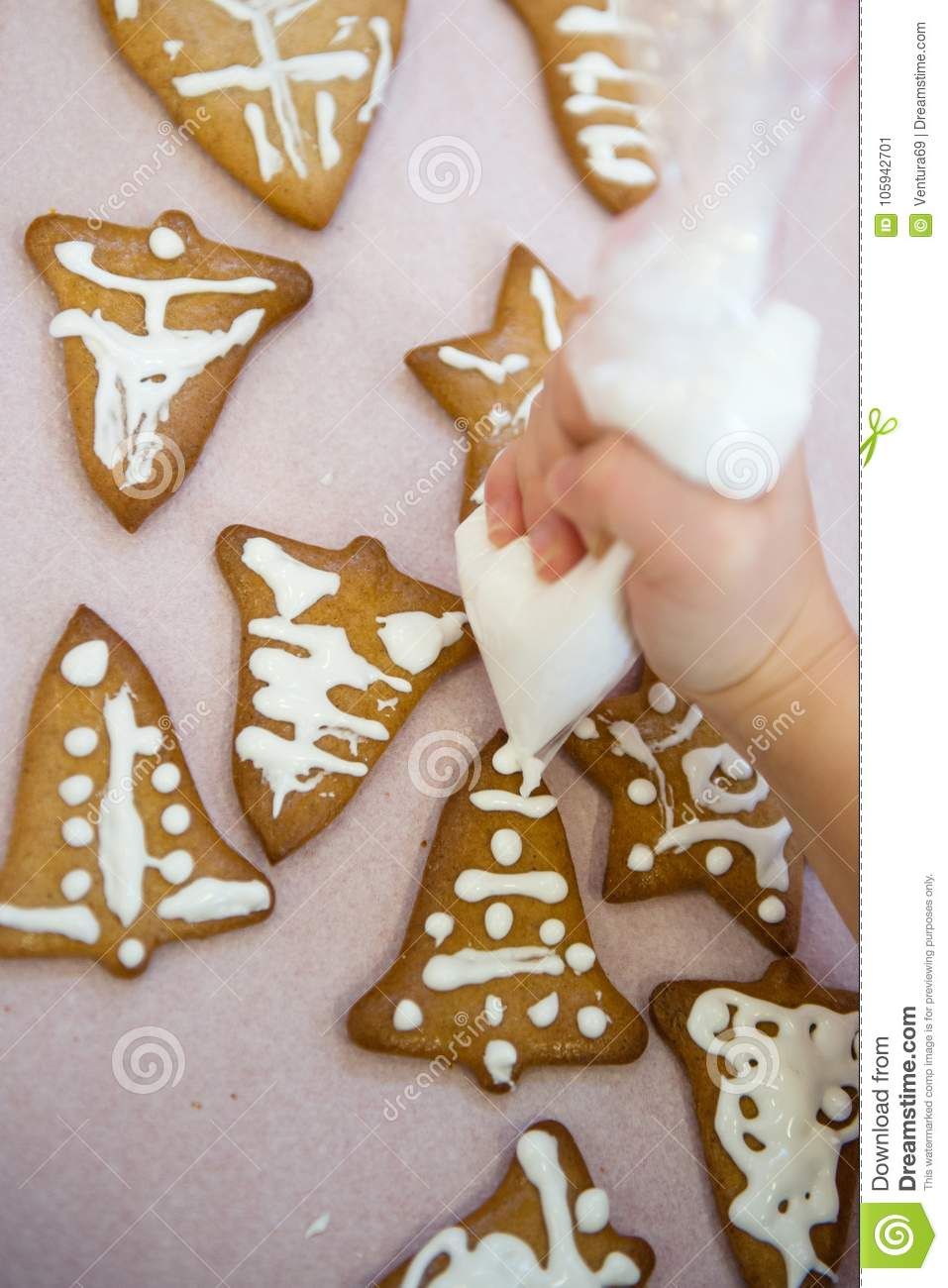 Kid Decorates Christmas Cookies Stock Image - Image of family ...
