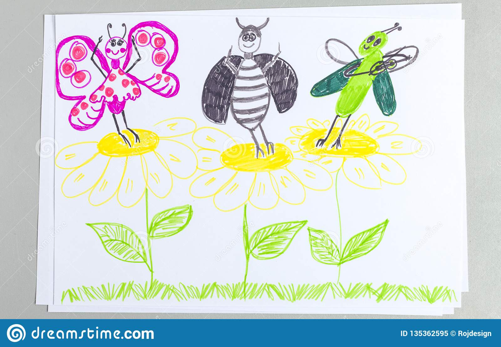 Kid doodle of insects dancing and having fun on flowers