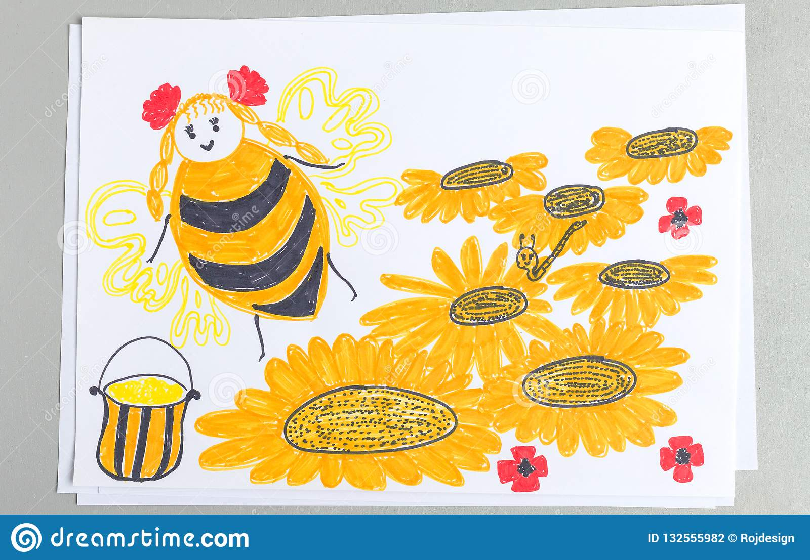 Kid drawing of bee flying over flowers collecting nectar and making honey