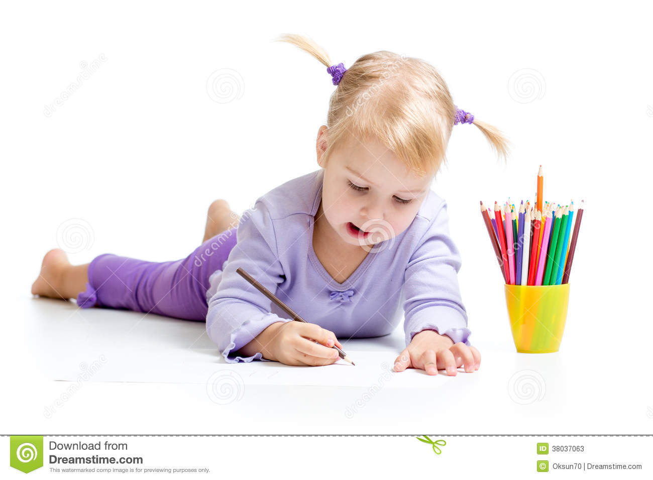 Kid Drawing With Color Pencils Stock Image - Image of dress ...