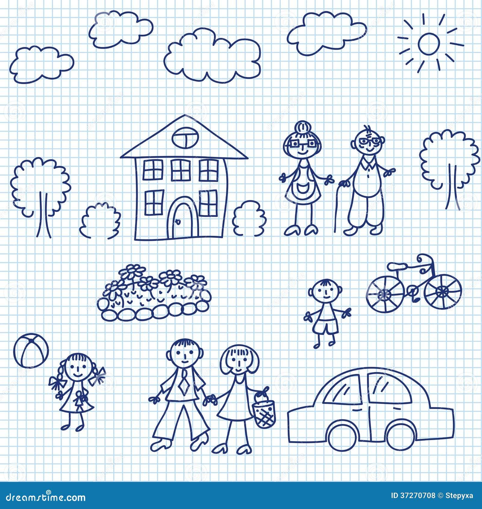 Kid drawing stock vector. Illustration of grandma, cute - 37270708