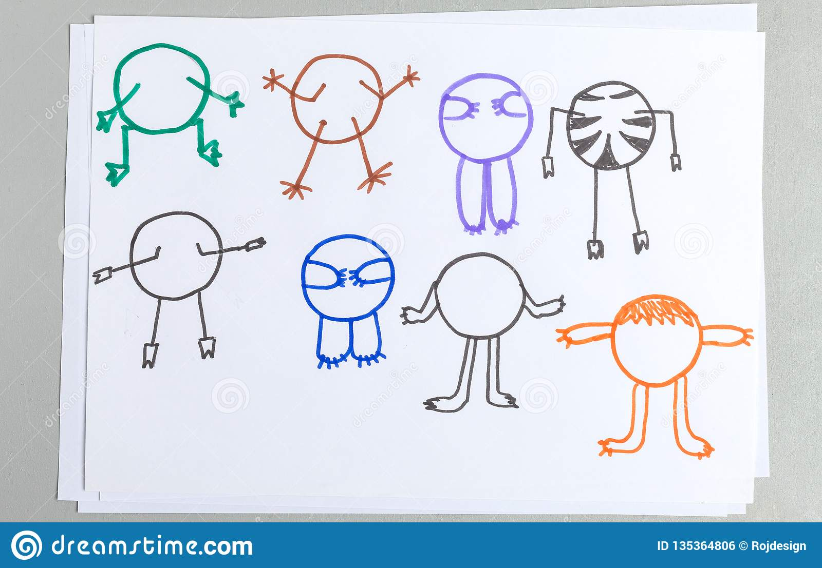 Kid drawings set of different animal body with arms and legs