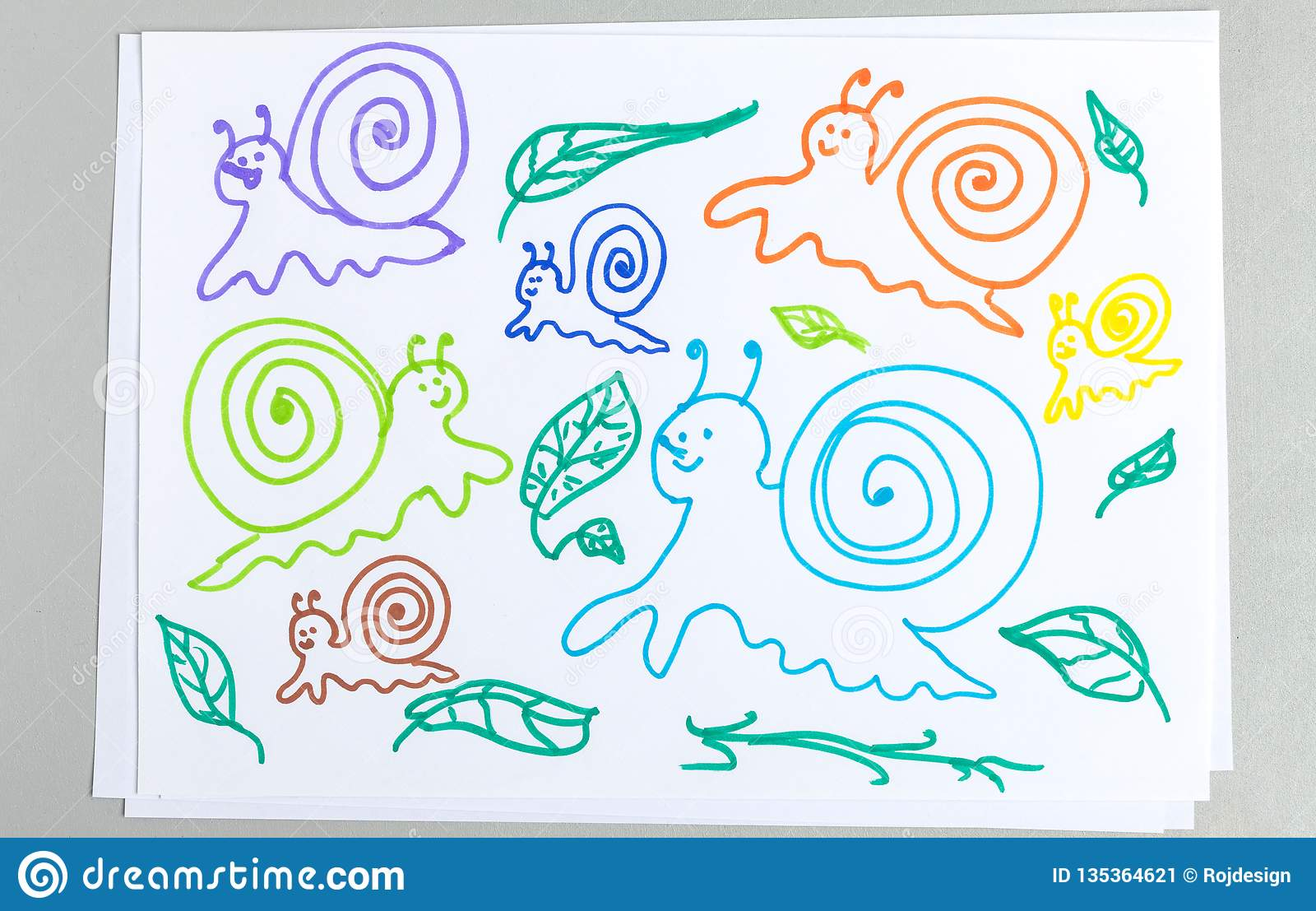 Kid drawings set of different snails and plant leaves