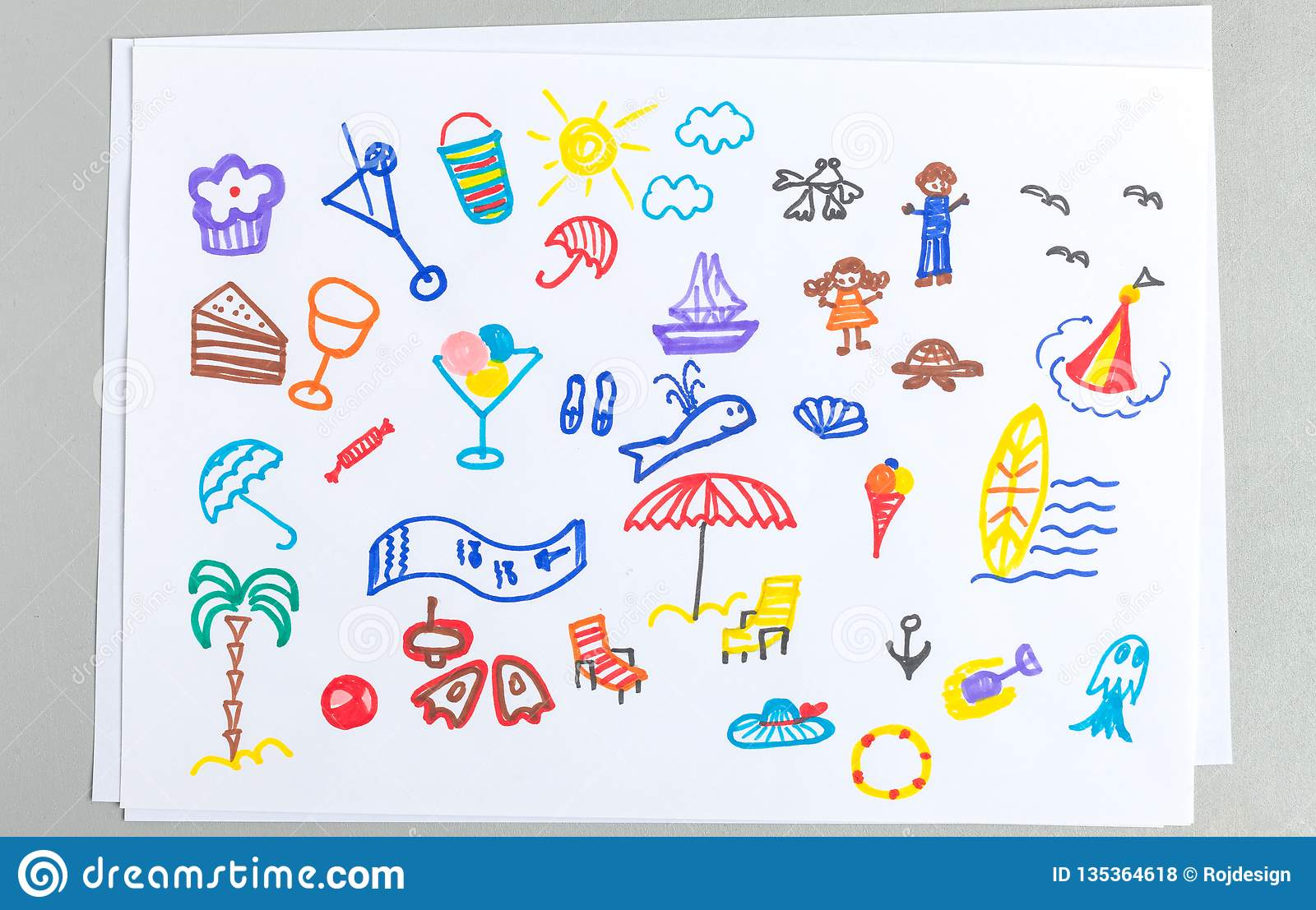 Kid drawings set of different summer beach vacation accessories and elements