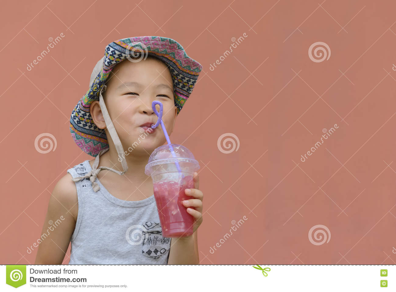 Kid drinking cold drink