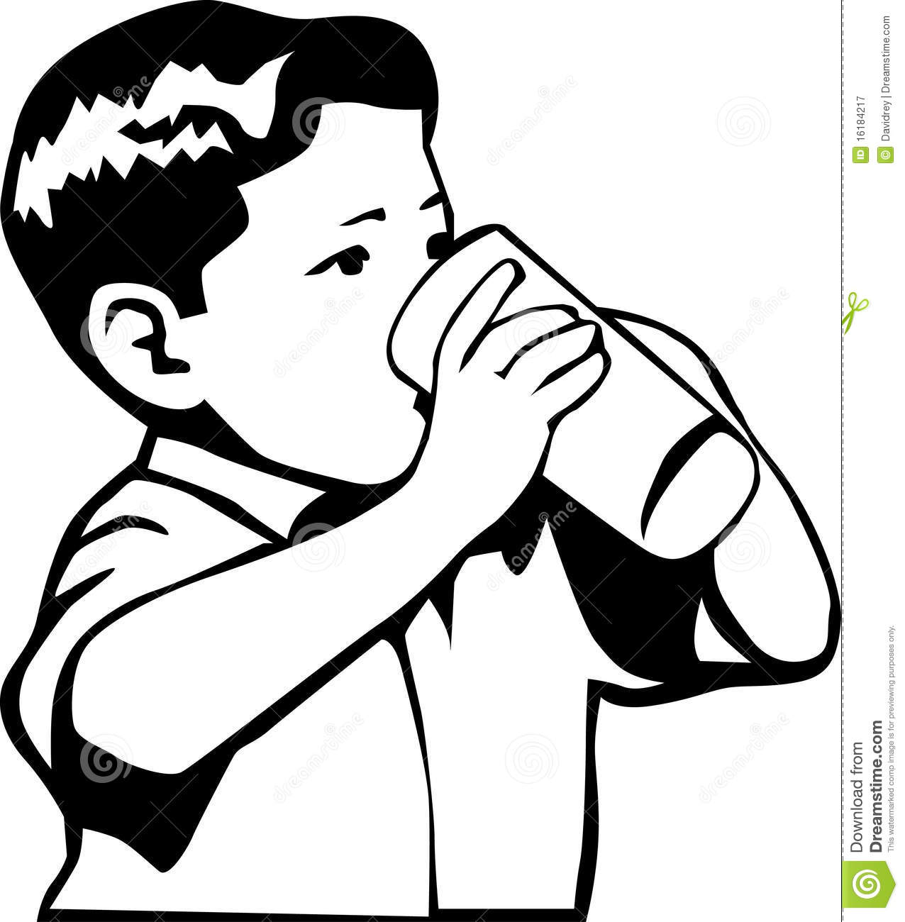 Black and white retro style illustration of a boy drinking water or ...: https://www.dreamstime.com/royalty-free-stock-photography-kid...