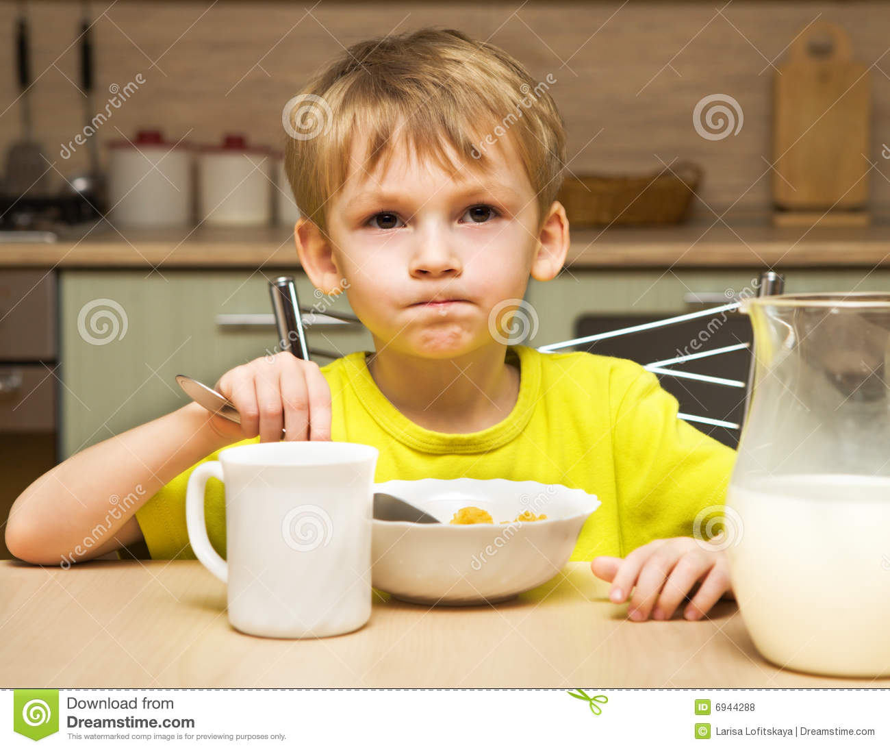 Kid eating breakfast stock photo. Image of little, bowl ...