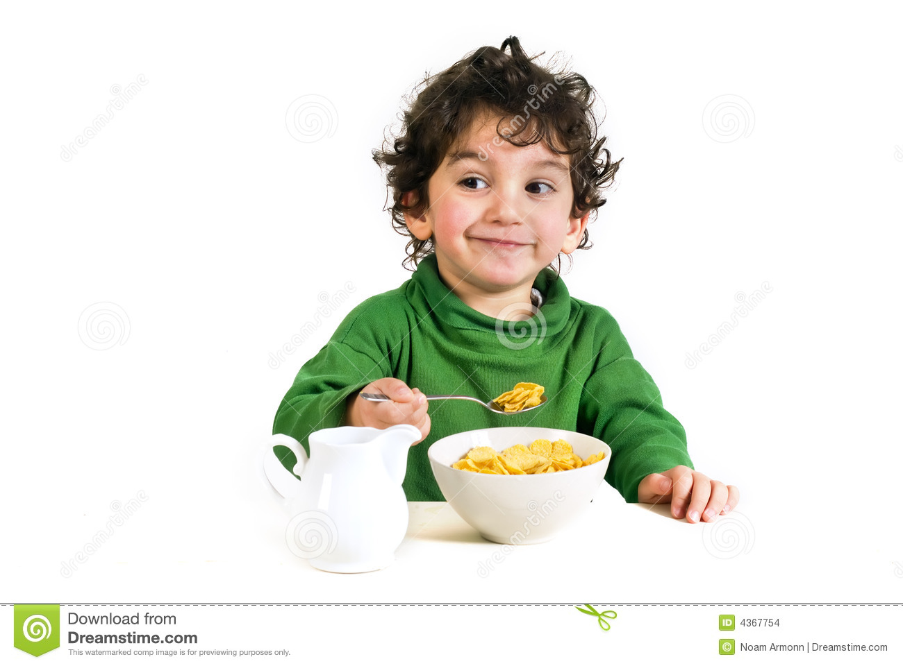 Bowl Of Cornflakes And Milk Kid eating cornflakes ...
