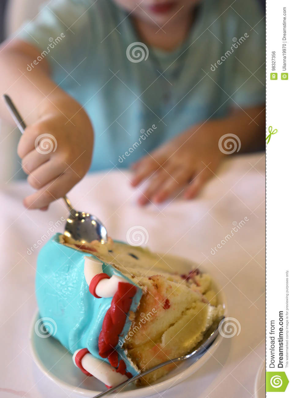 Cool Kid Eating Peace Of Birthday Cake Close Up Photo Stock Photo Personalised Birthday Cards Cominlily Jamesorg