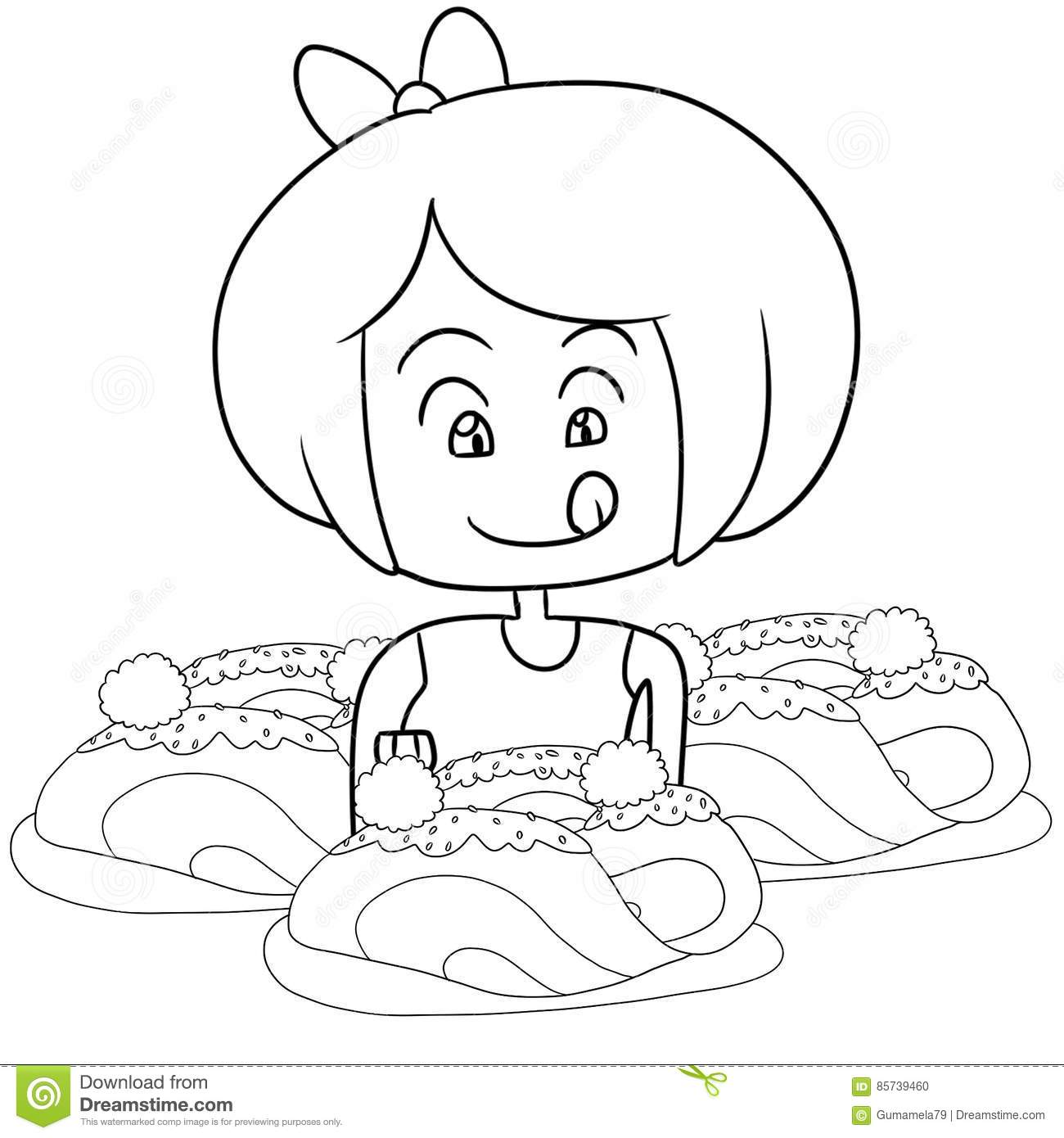 Kid Eating Spaghetti Coloring Page Stock Illustration