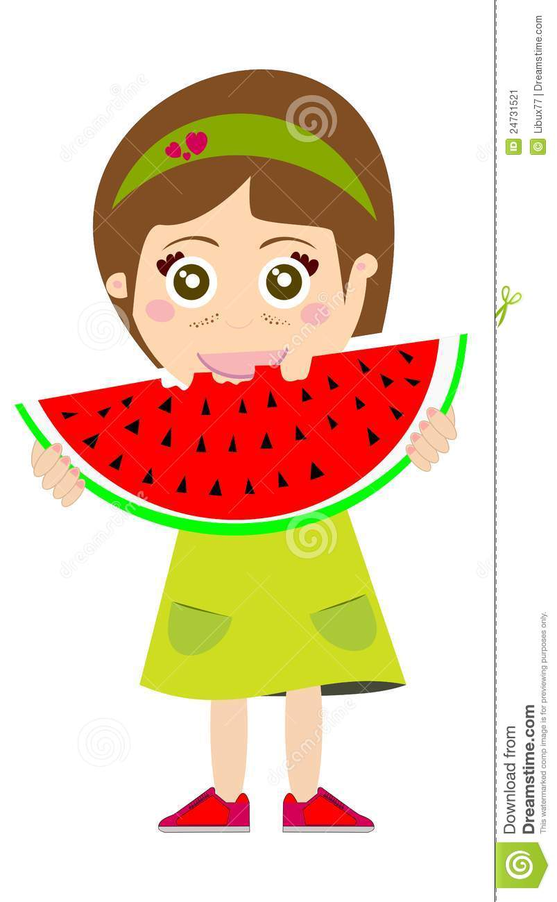 Cartoon Kid Eating Fruit