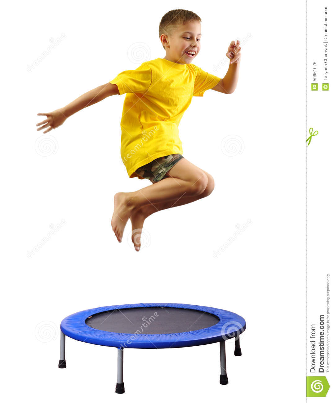 kid exercising and jumping on a trampoline stock image image of
