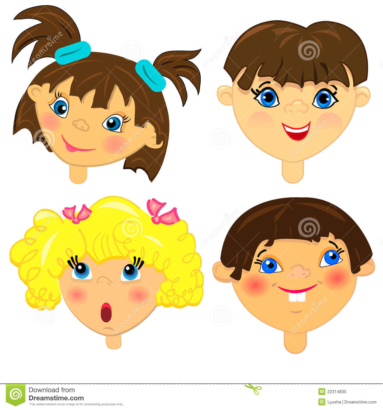 Kid Faces Set.isolated Characters Royalty Free Stock Photo ...