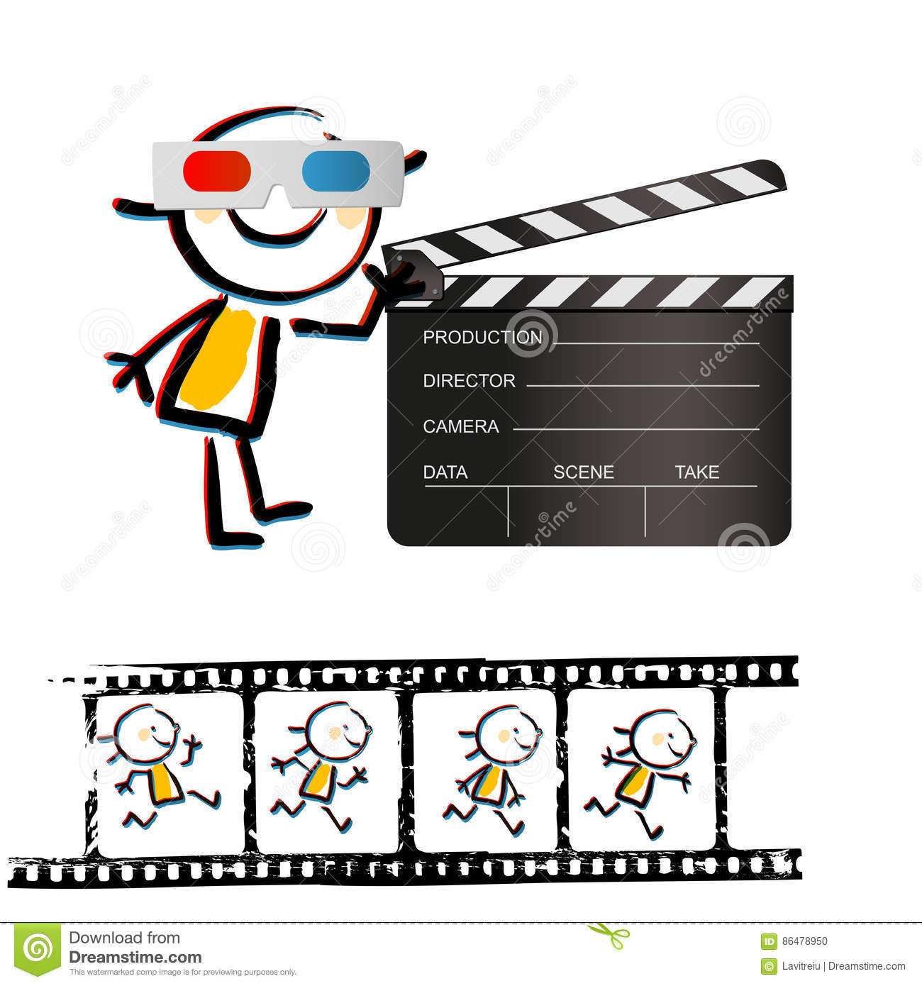 Kid filmstrip stock vector. Illustration of frame, studio - 86478950