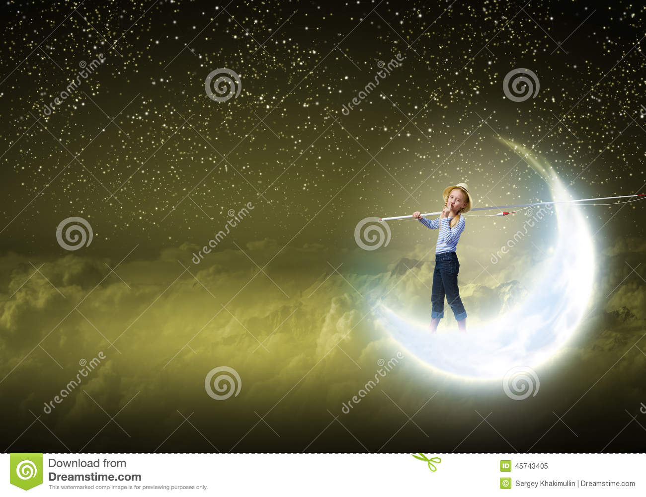 Kids at night with moon royalty free stock photography image - Royalty Free Stock Photo Kid Fisherman Stock Photo