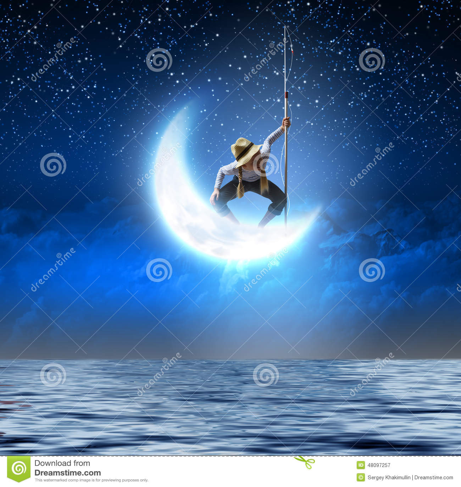 Kid fisherman stock photo image 48097257 for Fishing rod sun and moon
