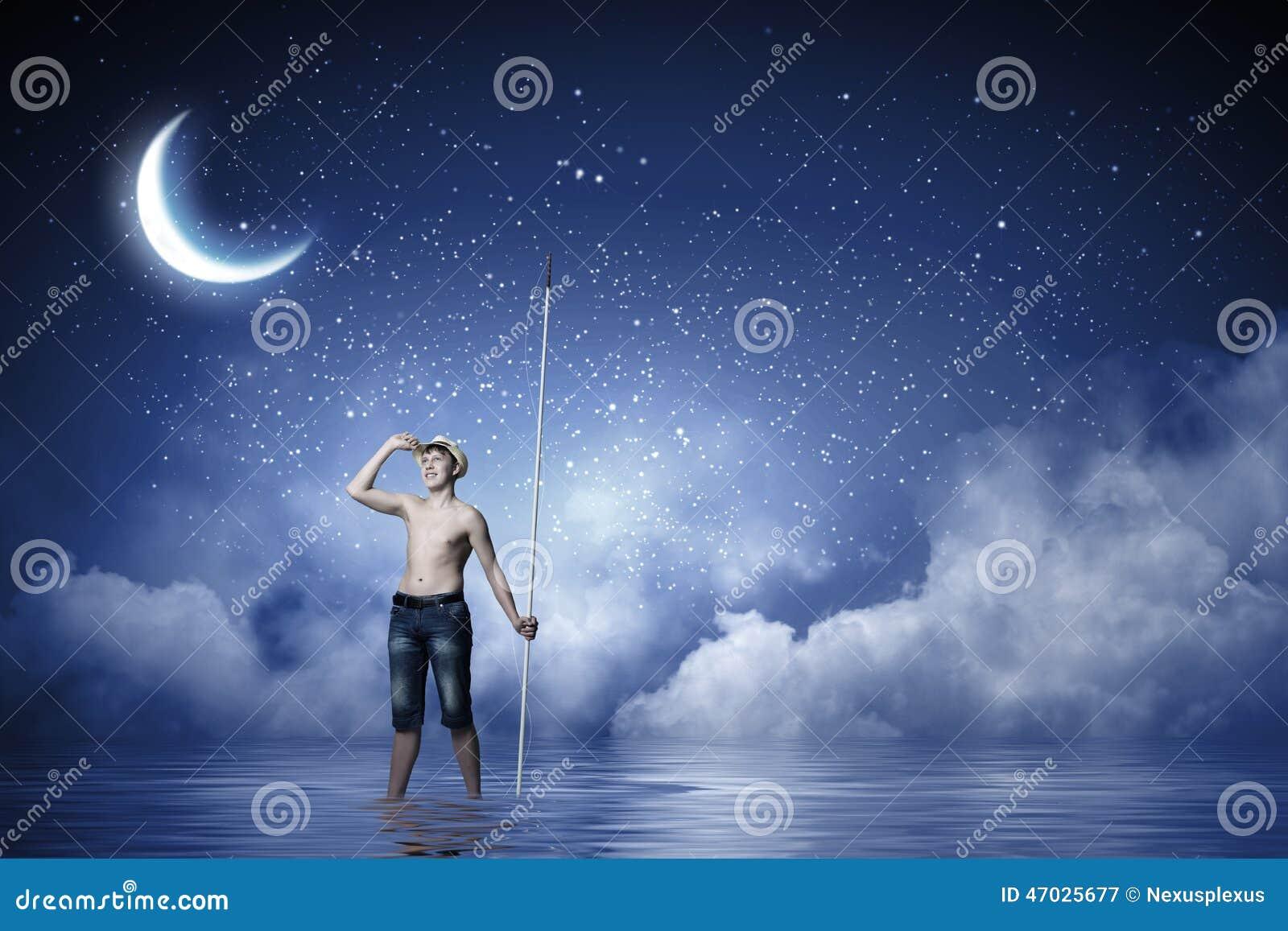 Kids at night with moon royalty free stock photography image - Royalty Free Stock Photo Boy Fisherman Fishing Kid Night