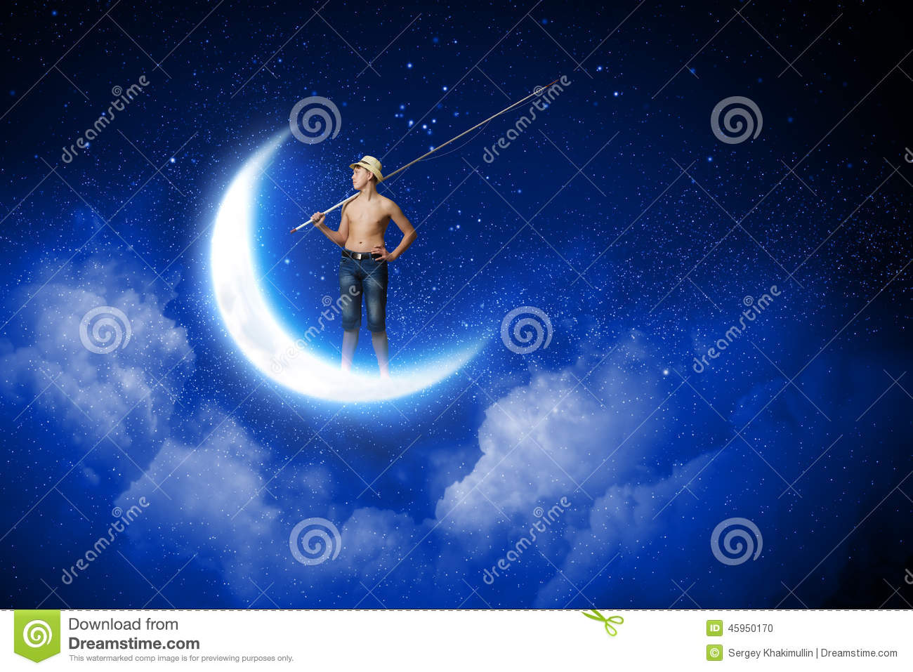 Kid fisherman stock photo image of activity dreaming for Fishing rod sun and moon