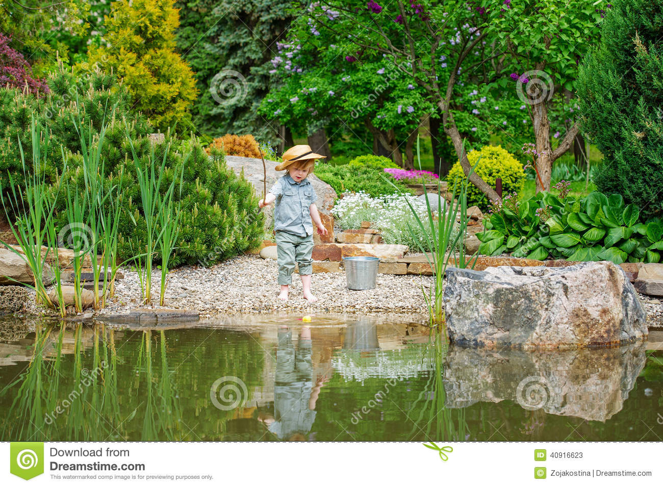Kid fishing in the pond stock image image of baby season for Little kid fishing pole