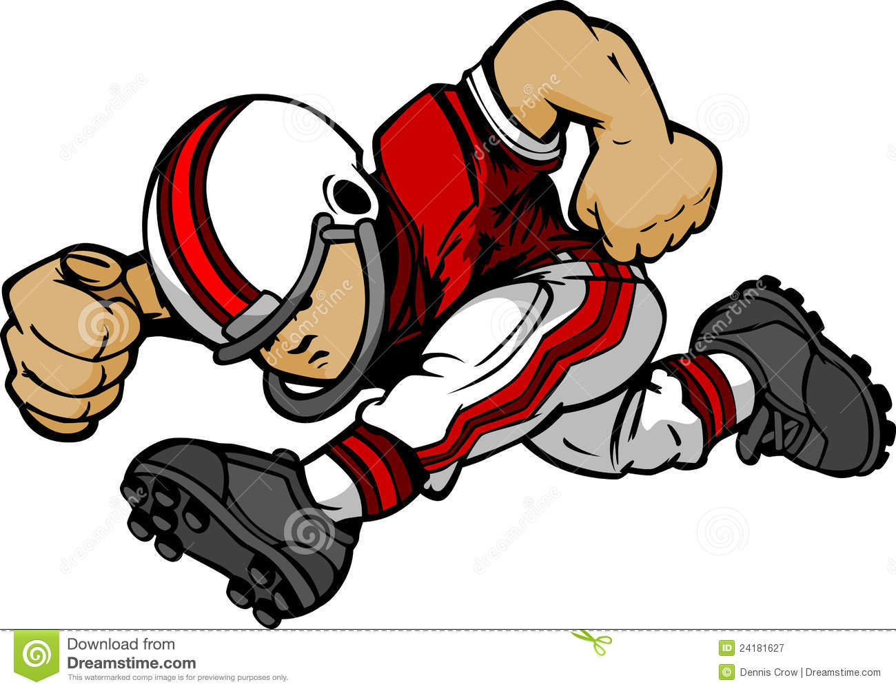 kid football player running cartoon