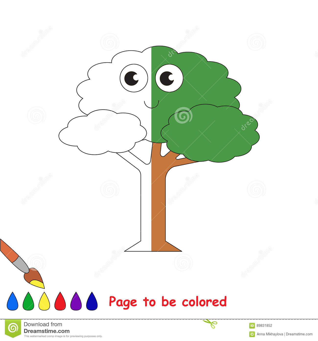 Kid Game To Be Colored By Example Half. Stock Vector - Illustration ...