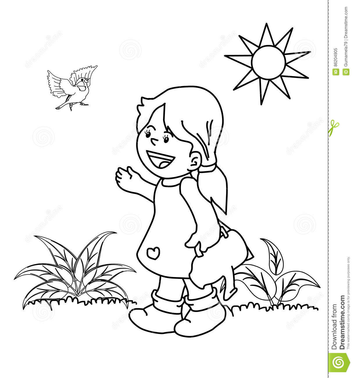 Kid In The Garden Coloring Page Stock Illustration