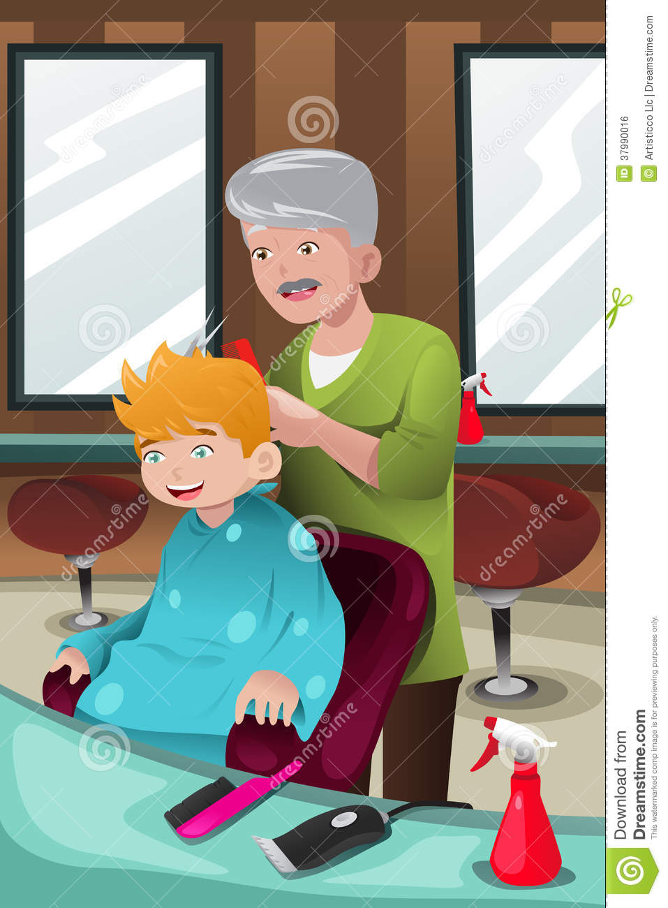 Kid getting a haircut stock vector Illustration of
