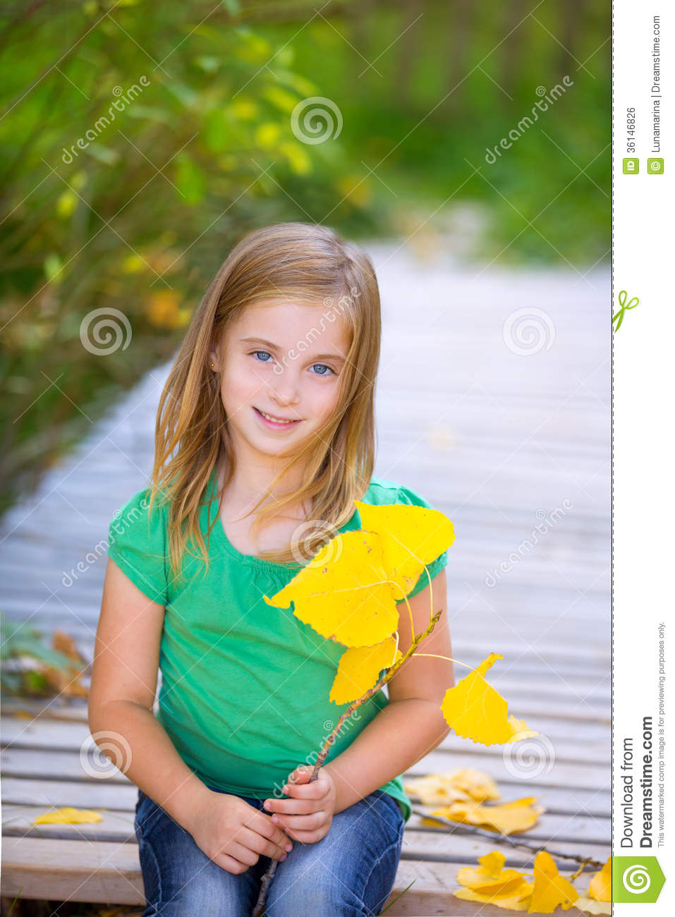 Kid Girl In Autumn Wood Deck With Yellow Leaves Outdoor Royalty Free ...