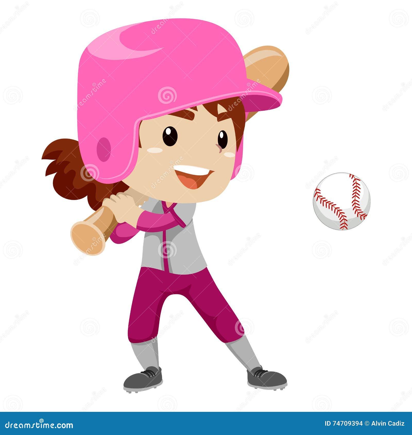 kid girl baseball player strike a ball stock vector Softball Bat Outline softball bat and ball clipart