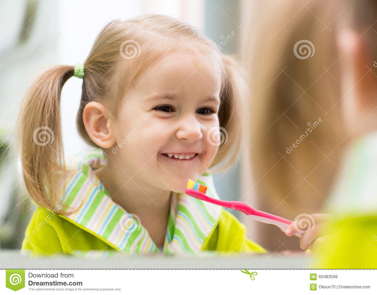 44cb19ead4 Kid Girl Brushing Teeth In Bathroom Stock Image - Image of little ...
