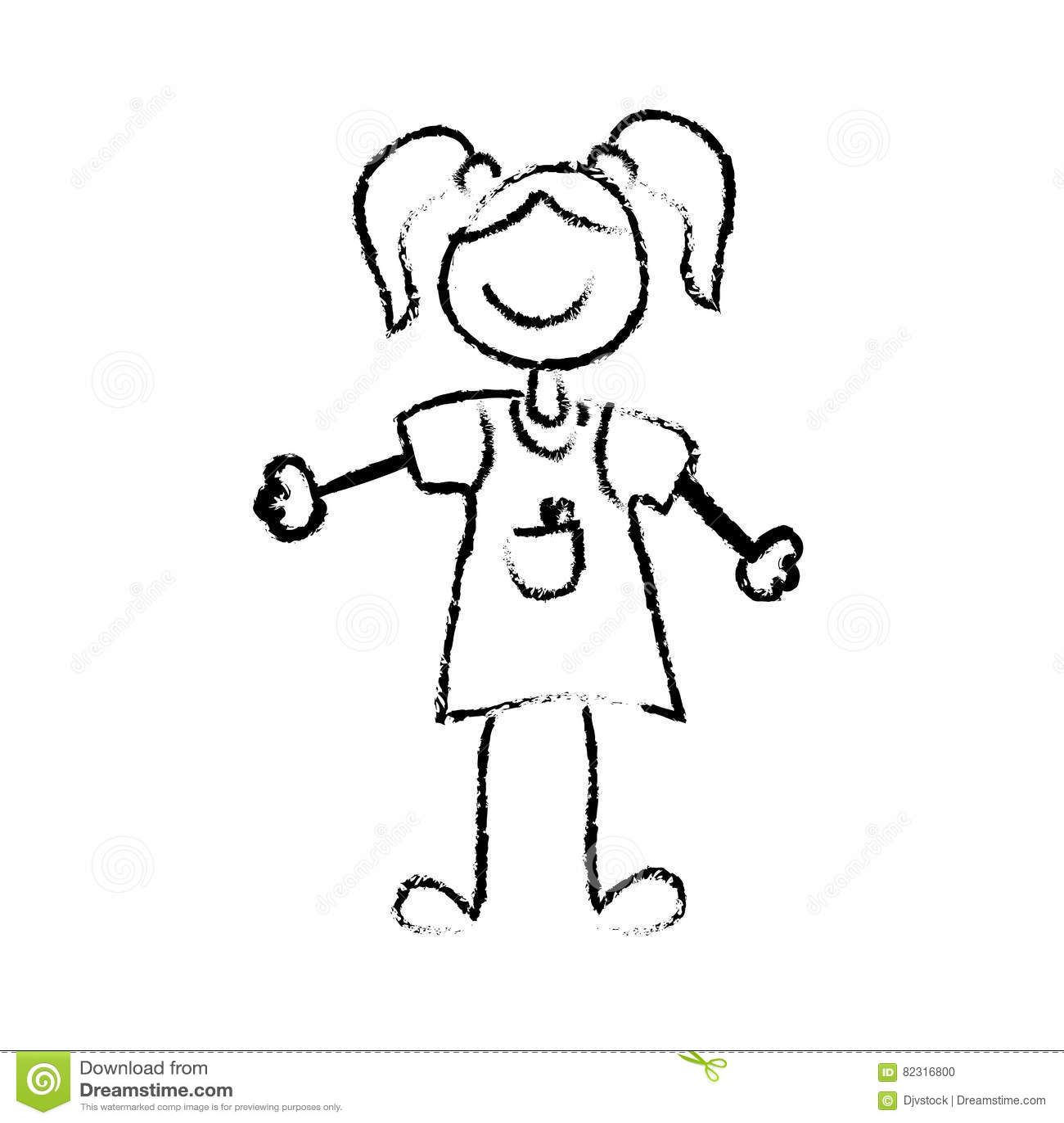 Kid Girl Draw Stock Illustration Illustration Of Active 82316800