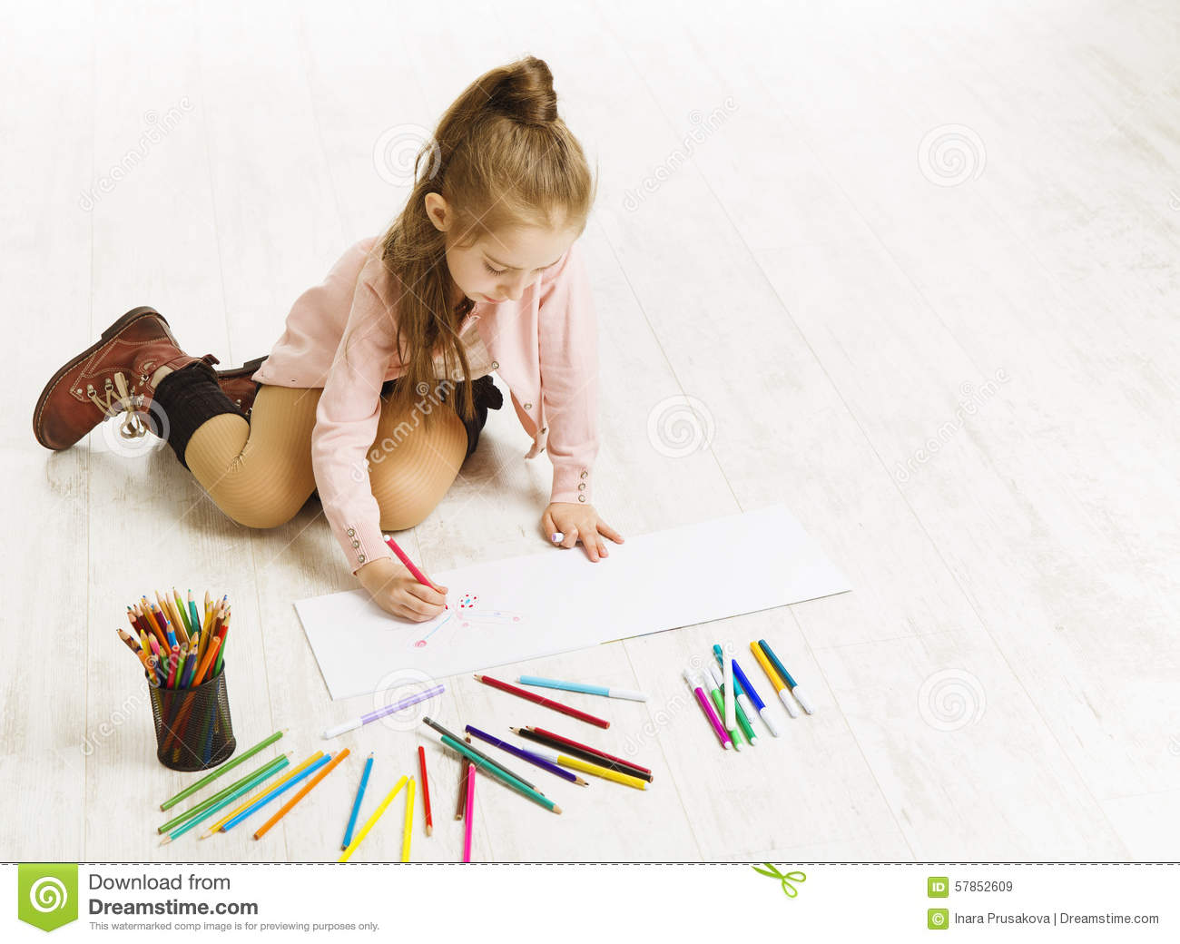 Drawingcolor Beautiful Girl Drawing Color Pencils Stock Photos Images