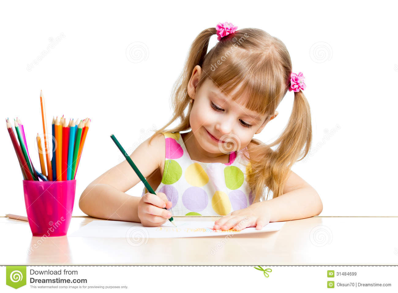 kid girl drawing with colourful pencils - Kid Drawing Picture