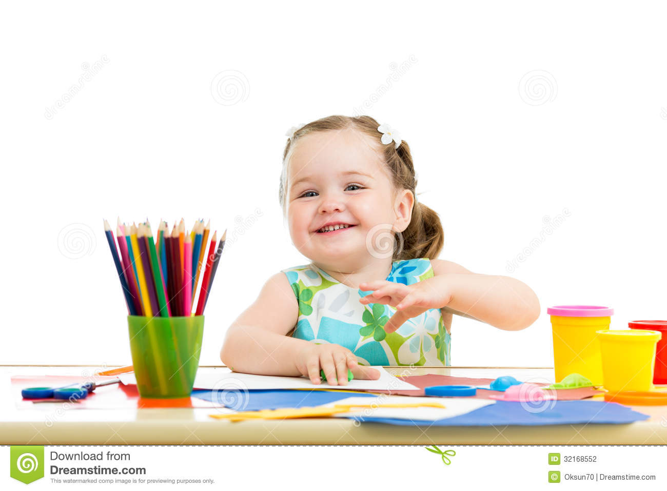 Kid Girl Drawing And Making By Hands Stock Photo - Image: 47287271