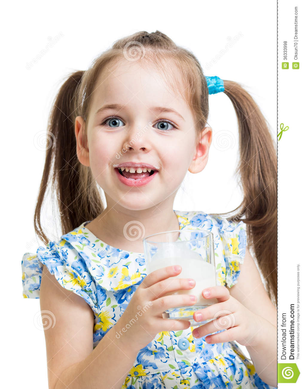 Kid Girl Drinking Yogurt Or Kefir Royalty Free Stock Photos - Image ...