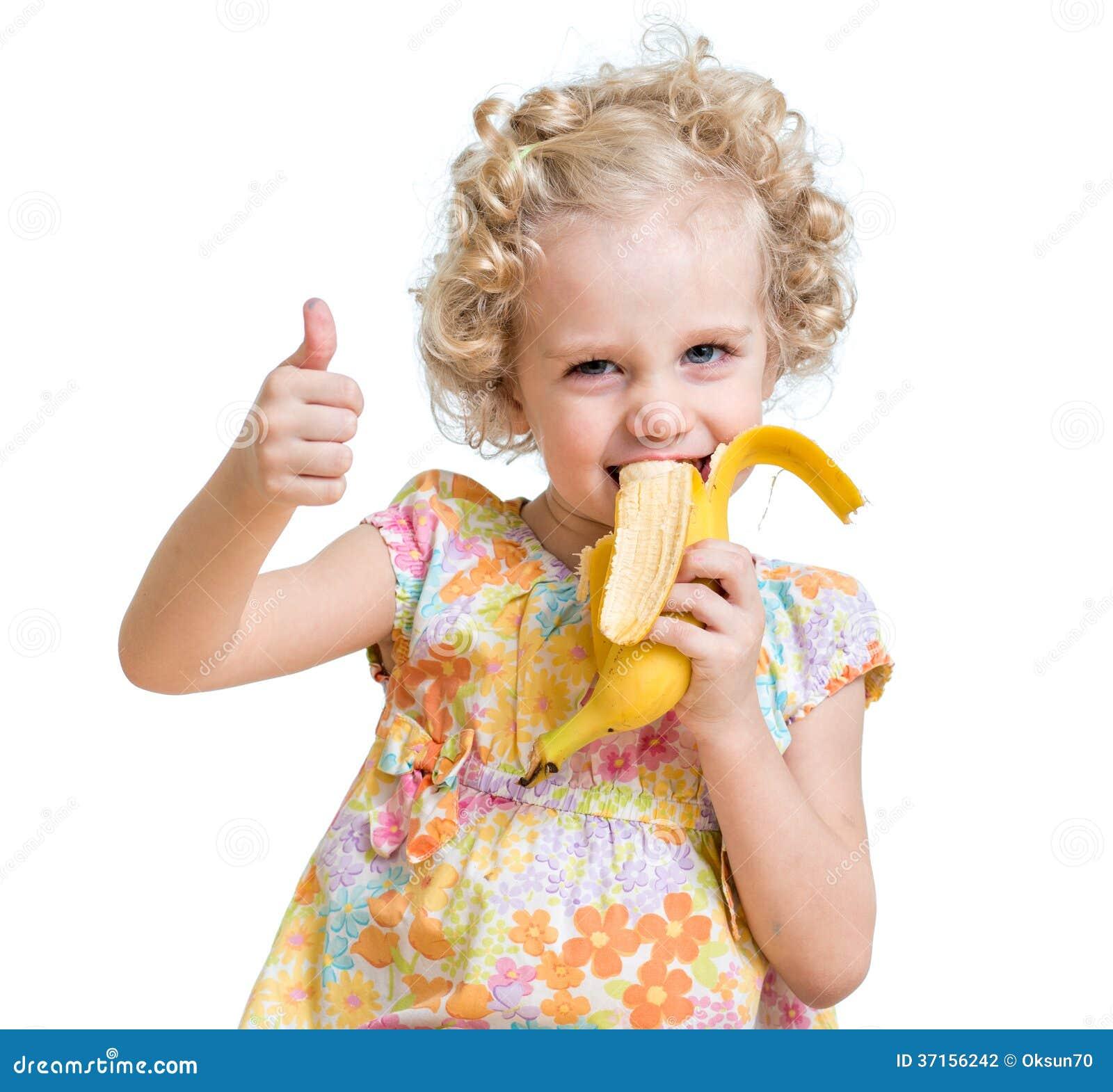 Kid Girl Eating Banana And Showing Ok Sign Stock Photography - Image ...