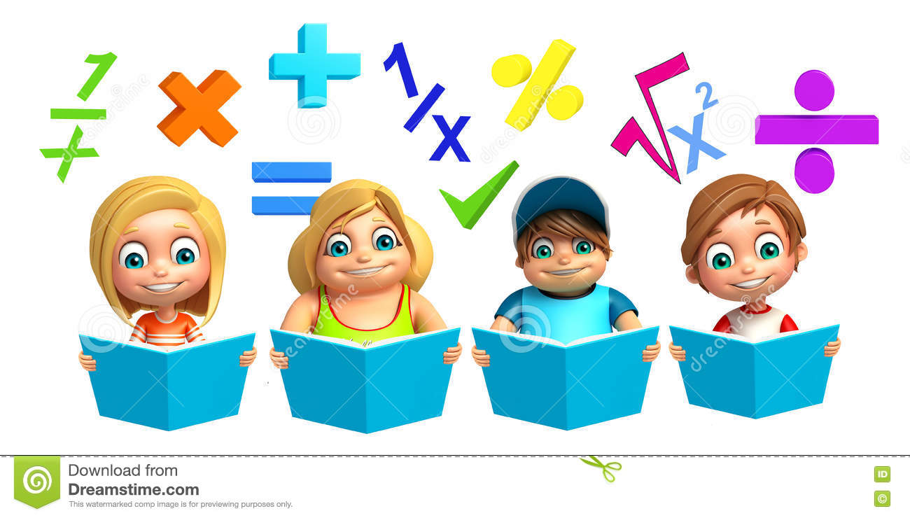 Kid Girl And Kid Boy With Math Sign And Book Stock Illustration ...