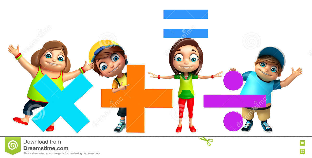 Kid Girl And Kid Boy With Math Signs Stock Illustration ...