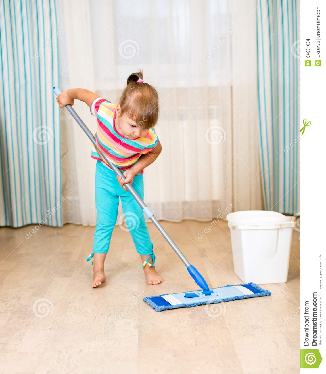 Kid Girl With Mop Stock Images - Image: 34301054