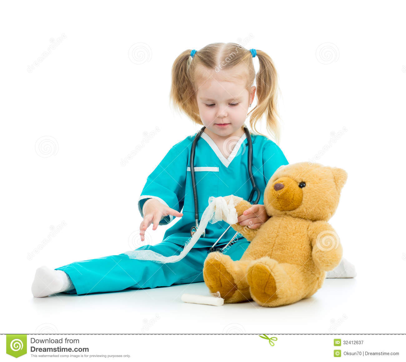 doctor kid Kid girl playing doctor with toy Royalty Free Stock Photography