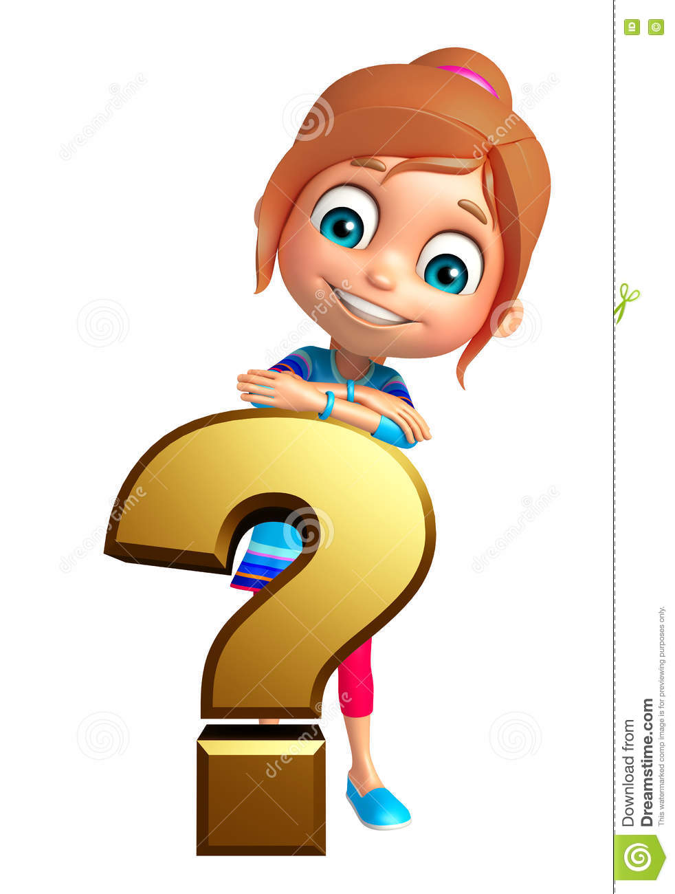 Kid Girl With Question Mark Sign Stock Illustration - Illustration