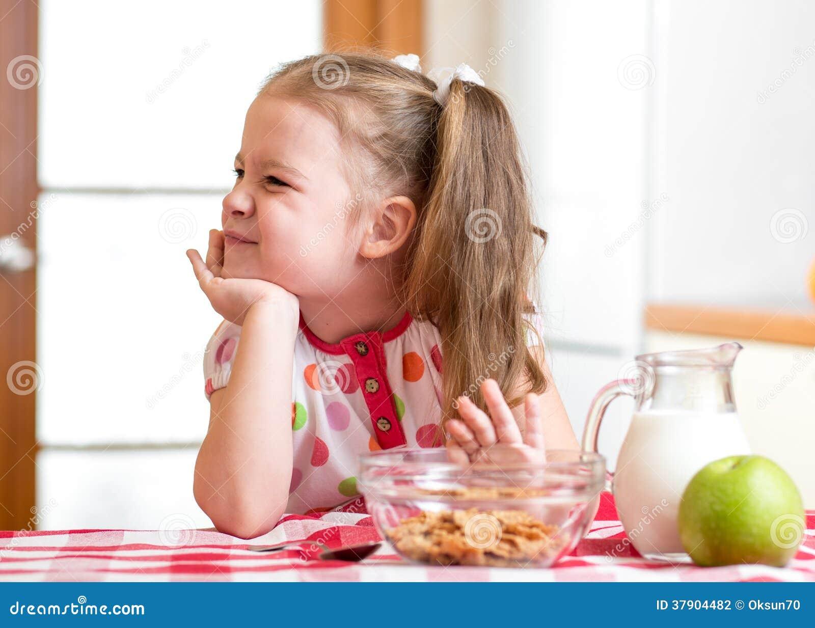 Kid Girl Refuses To Eat Healthy Food Stock Photography   Image